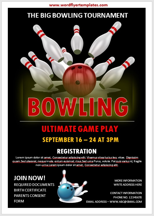 Bowling Flyer Template 03